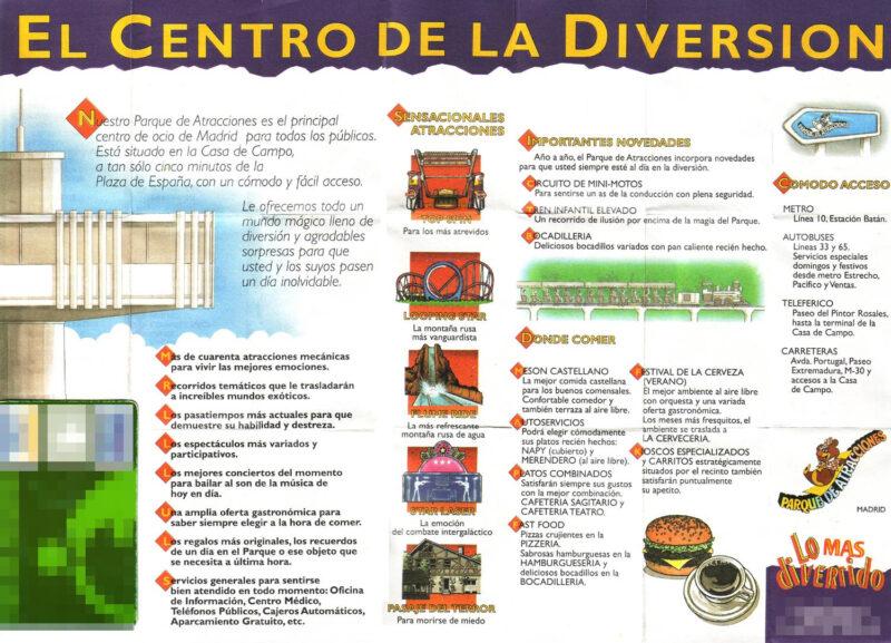 Plano cara B Parque Atracciones Madrid