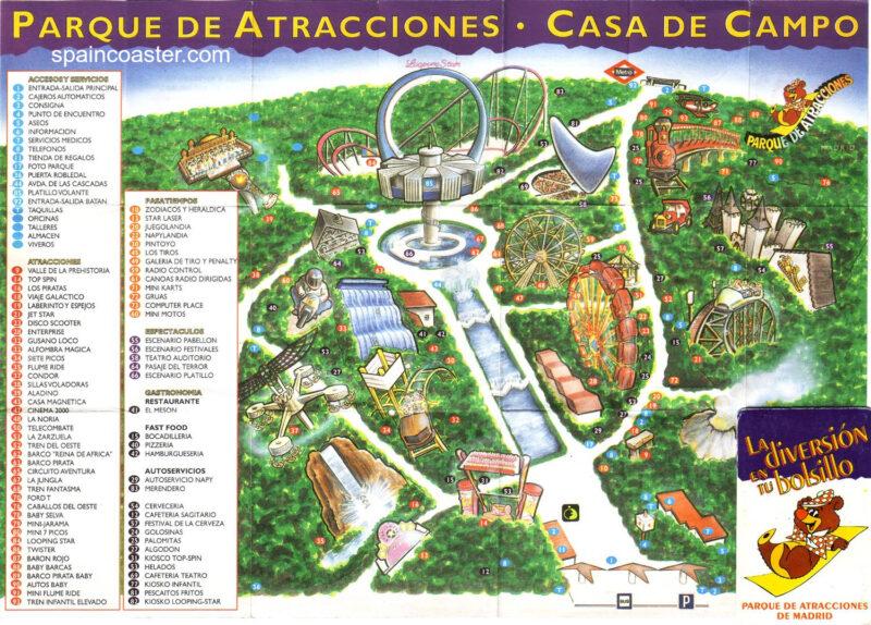 Plano 1995 Parque Atracciones Madrid